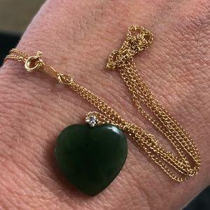 Jewelry - 14k Gold Chain Jade Heart Diamond Necklace
